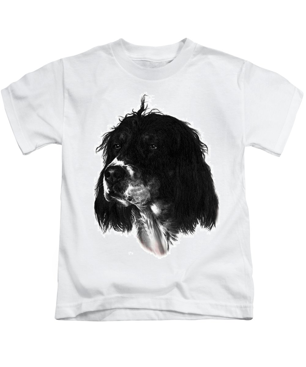 Portrait Kids T-Shirt featuring the drawing Sadie by Rachel Christine Nowicki
