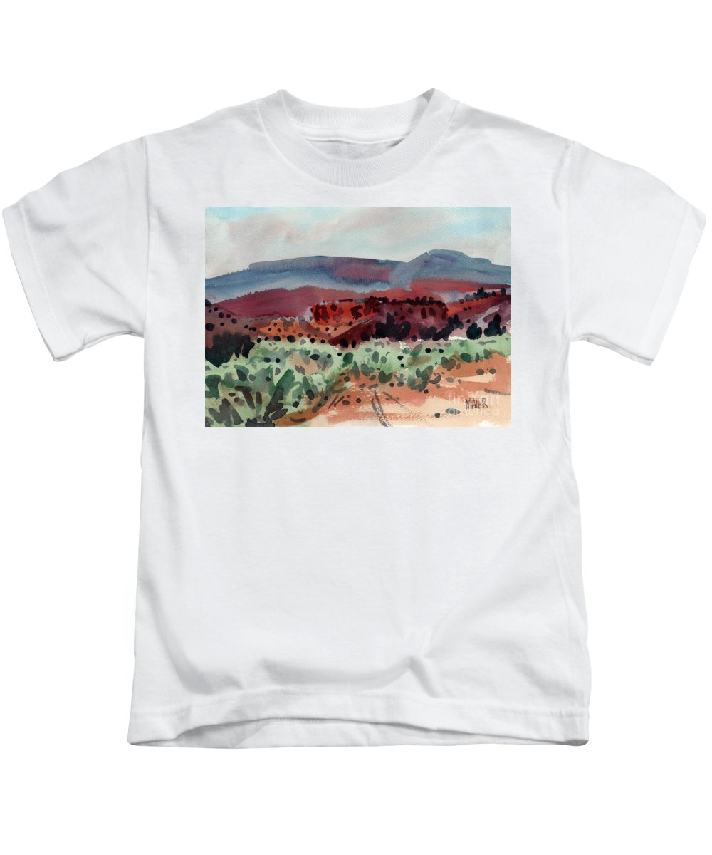Southwestern Landscape Kids T-Shirt featuring the painting Sage Sand And Sierra by Donald Maier