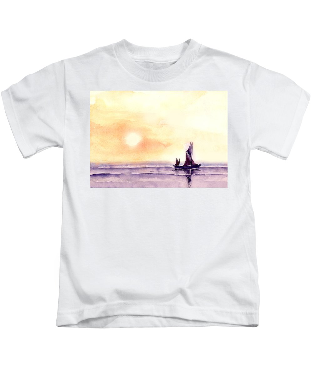 Nature Kids T-Shirt featuring the painting Sailing by Anil Nene