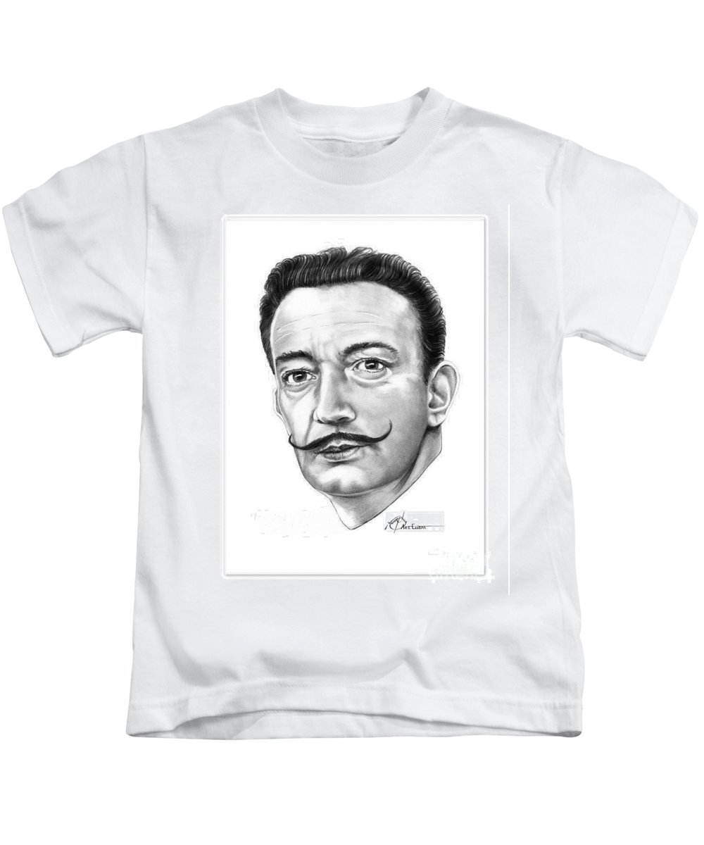 Drawing Kids T-Shirt featuring the drawing Salvador Dali by Murphy Elliott