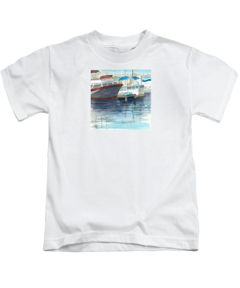 Watercolor Kids T-Shirt featuring the painting San Diego Mission Bay by Nancy Halpin