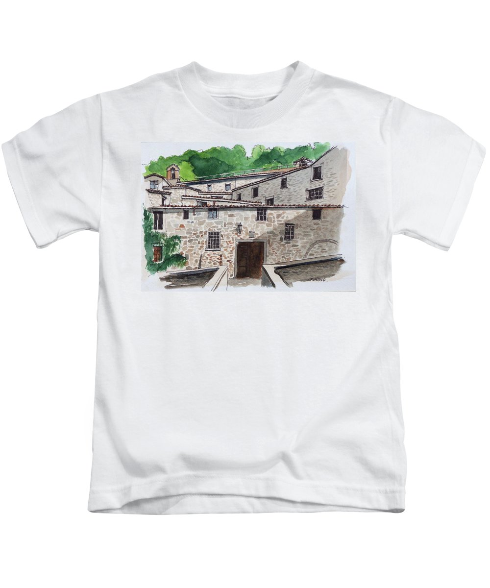 Tuscany Kids T-Shirt featuring the painting Sanctuary Of St. Francis by John Crowther