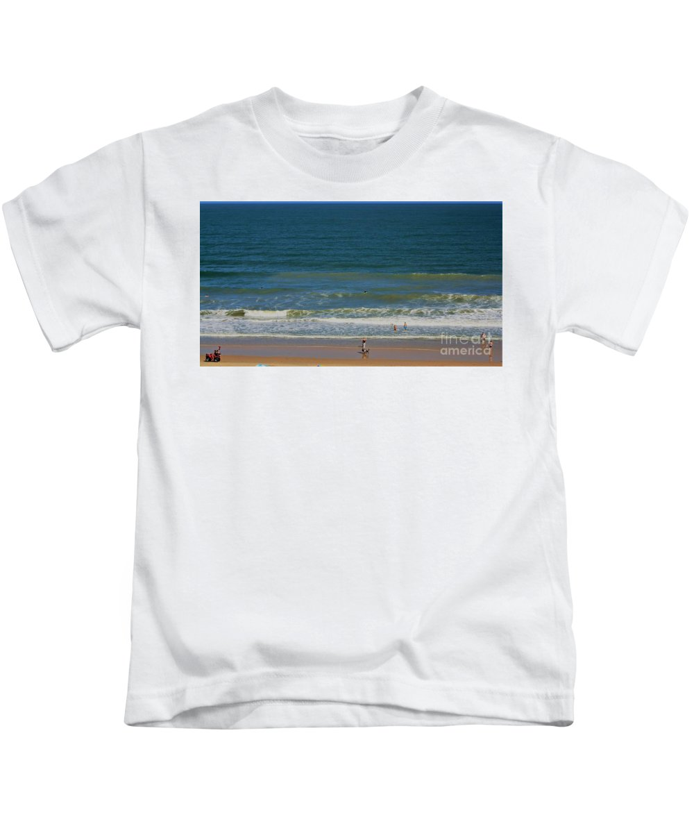 Sand And Surf Kids T-Shirt featuring the photograph Sand And Surf by Patti Whitten
