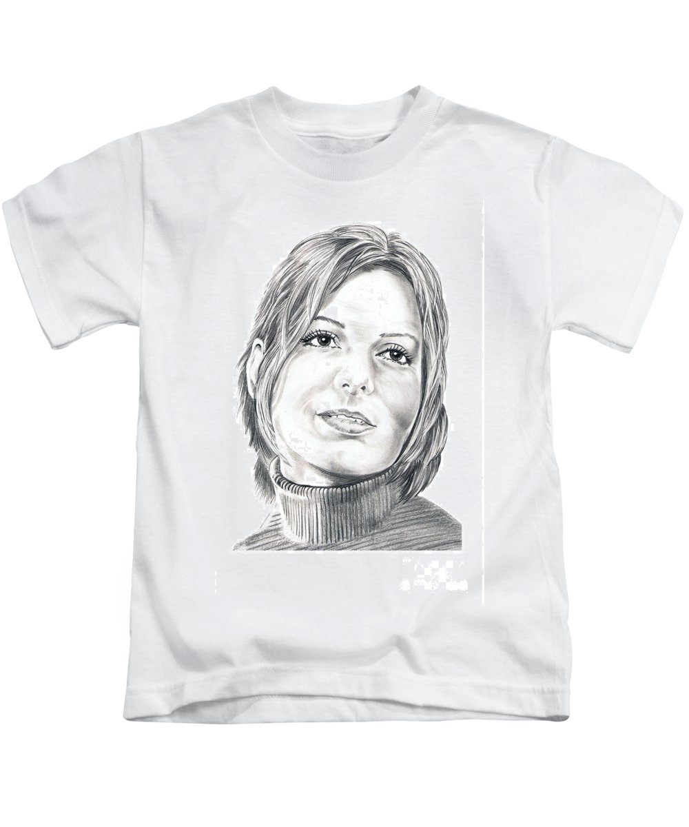 Drawing Kids T-Shirt featuring the drawing Sandra Bullock by Murphy Elliott