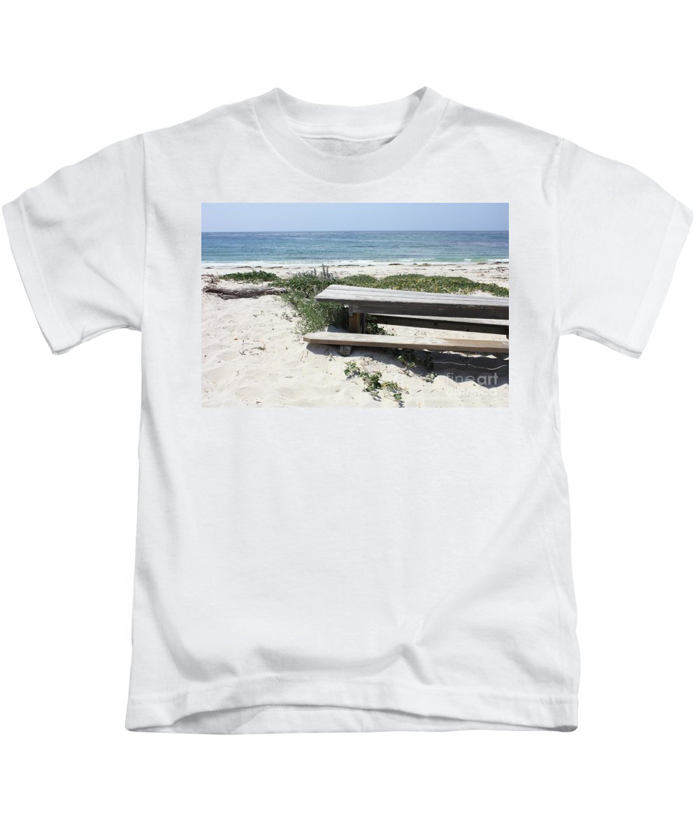 Picnic Table Kids T-Shirt featuring the photograph Sandy Picnic Table by Carol Groenen