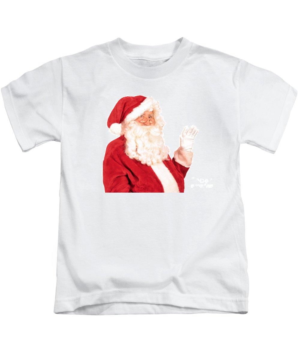 Santa Claus Kids T-Shirt featuring the photograph Santa Claus Waving Hand by Amanda Elwell