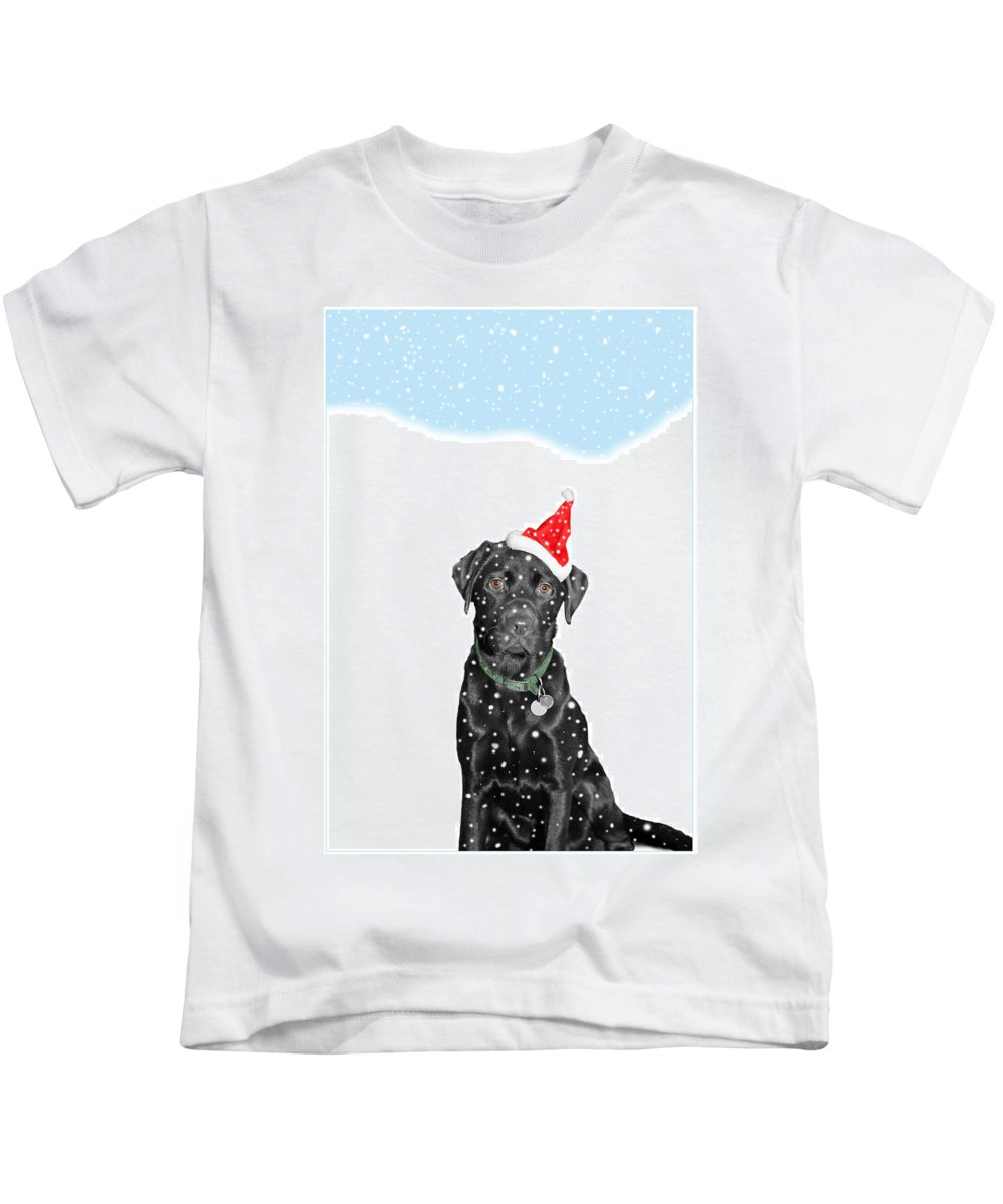 Christmas Kids T-Shirt featuring the photograph Santa Dog In The Snow by Mal Bray
