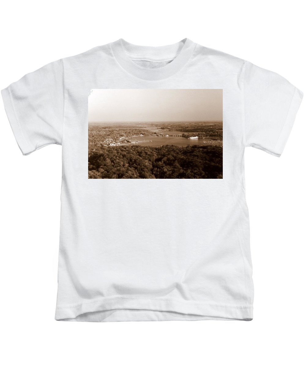 Saugatuck Kids T-Shirt featuring the photograph Saugatuck Michigan Harbor Aerial Photograph by Michelle Calkins