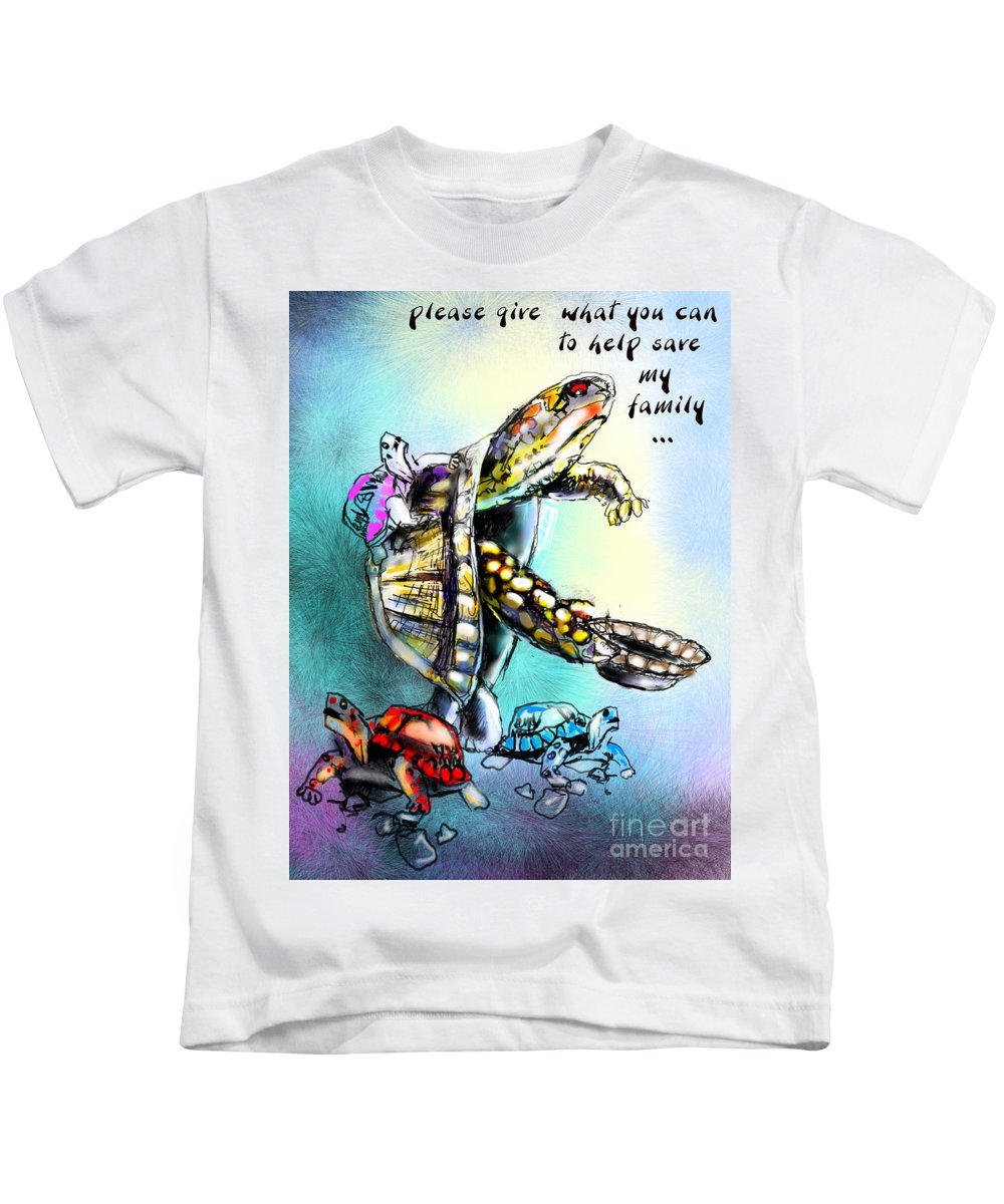 Turtle Painting Kids T-Shirt featuring the digital art Save My Family by Miki De Goodaboom
