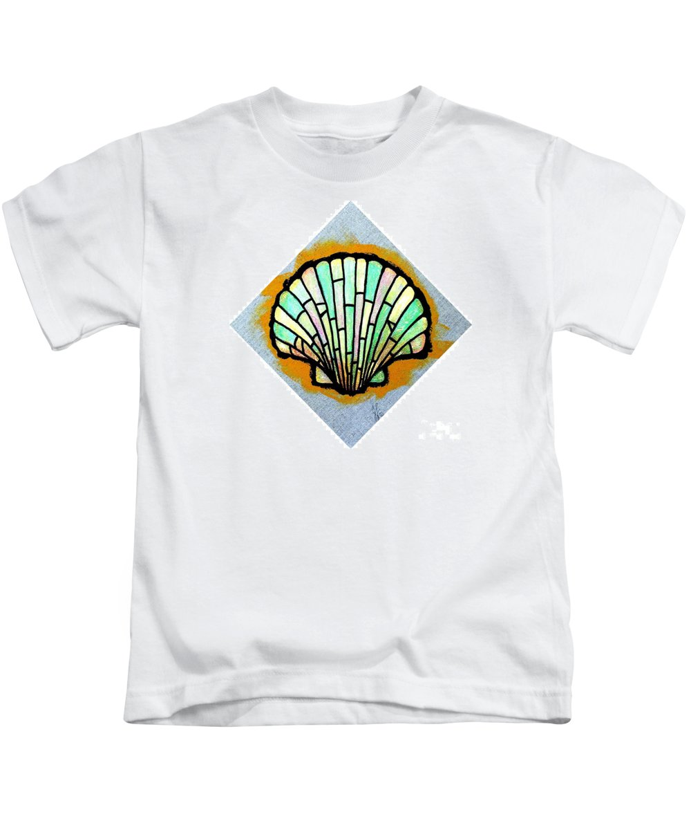 Shell Kids T-Shirt featuring the painting Scallop Shell by Jim Harris
