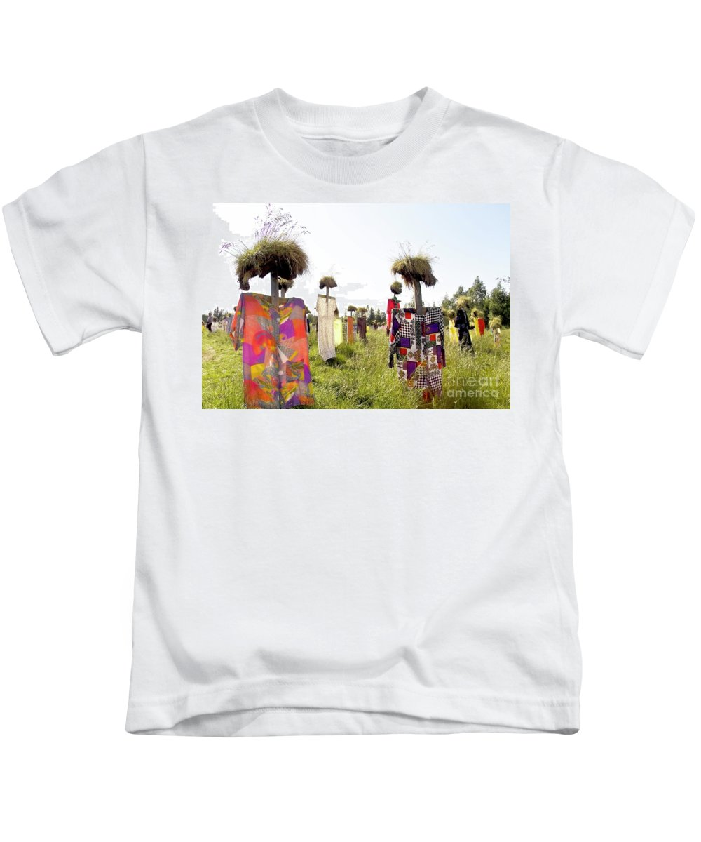 Scarecrow Kids T-Shirt featuring the photograph Scarecrows by Heiko Koehrer-Wagner