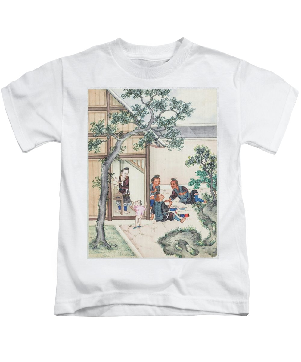 Scenes Of Daily Life Kids T-Shirt featuring the painting Scenes Of Daily Life by MotionAge Designs