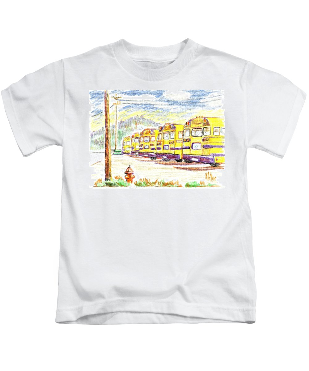 School Bussiness Kids T-Shirt featuring the mixed media School Bussiness by Kip DeVore