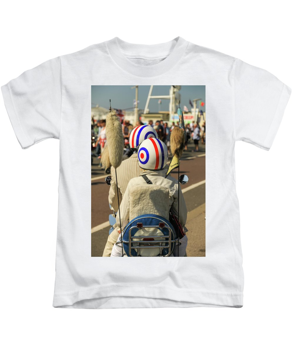 August Kids T-Shirt featuring the photograph Scooter Mods And Helmets by Haydn Denman