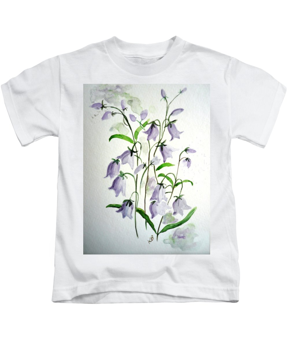 Blue Bells Hare Bells Purple Flower Flora Kids T-Shirt featuring the painting Scottish Blue Bells by Karin Dawn Kelshall- Best