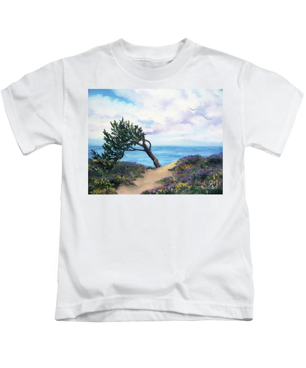 California Kids T-Shirt featuring the painting Sea Coast At Half Moon Bay by Laura Iverson