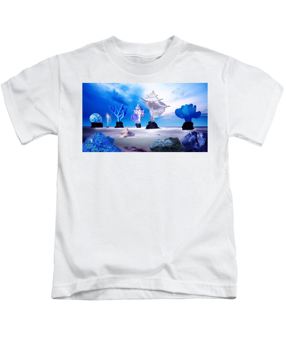 Blue Kids T-Shirt featuring the digital art Sea Dancers by Eric Amsellem