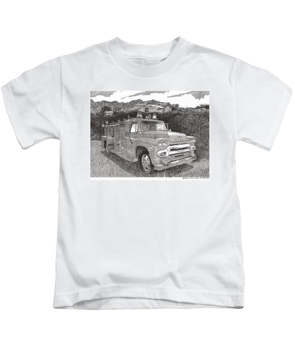 Images Of Seagrave Gmc Firetrucks. Automotive Prints Kids T-Shirt featuring the drawing Seagrave Gmc Firetruck by Jack Pumphrey