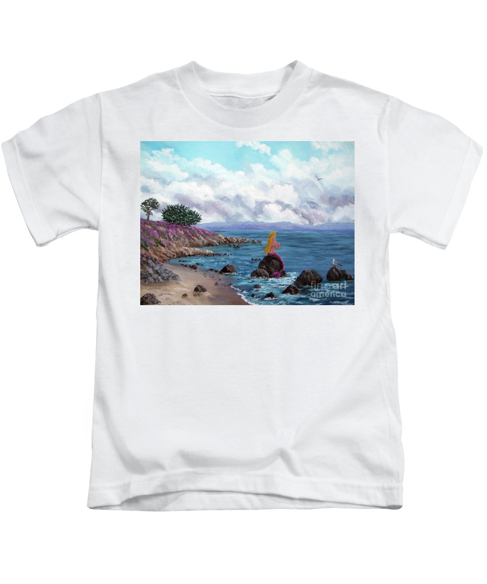 Pacific Grove Kids T-Shirt featuring the painting Seagull Cove by Laura Iverson