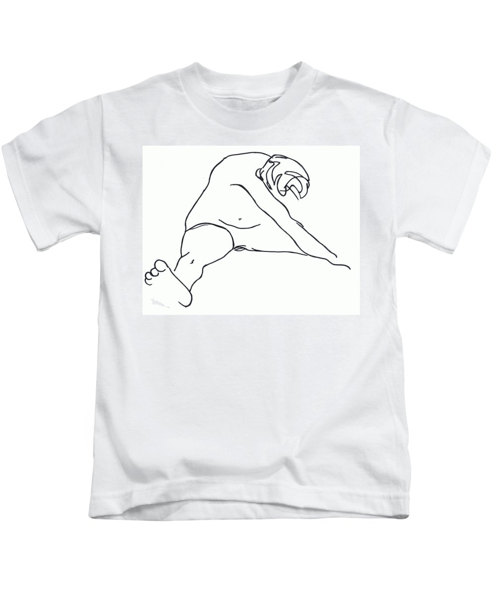 Figure Kids T-Shirt featuring the drawing Seated Figure by Nancy Mueller