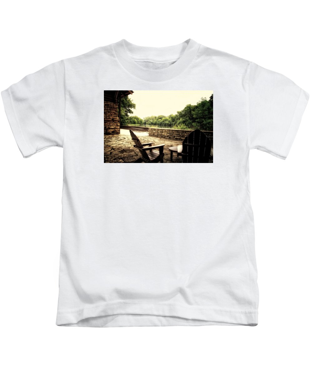 Surreal Kids T-Shirt featuring the photograph Seating For Two By The Creek by Thomas Woolworth