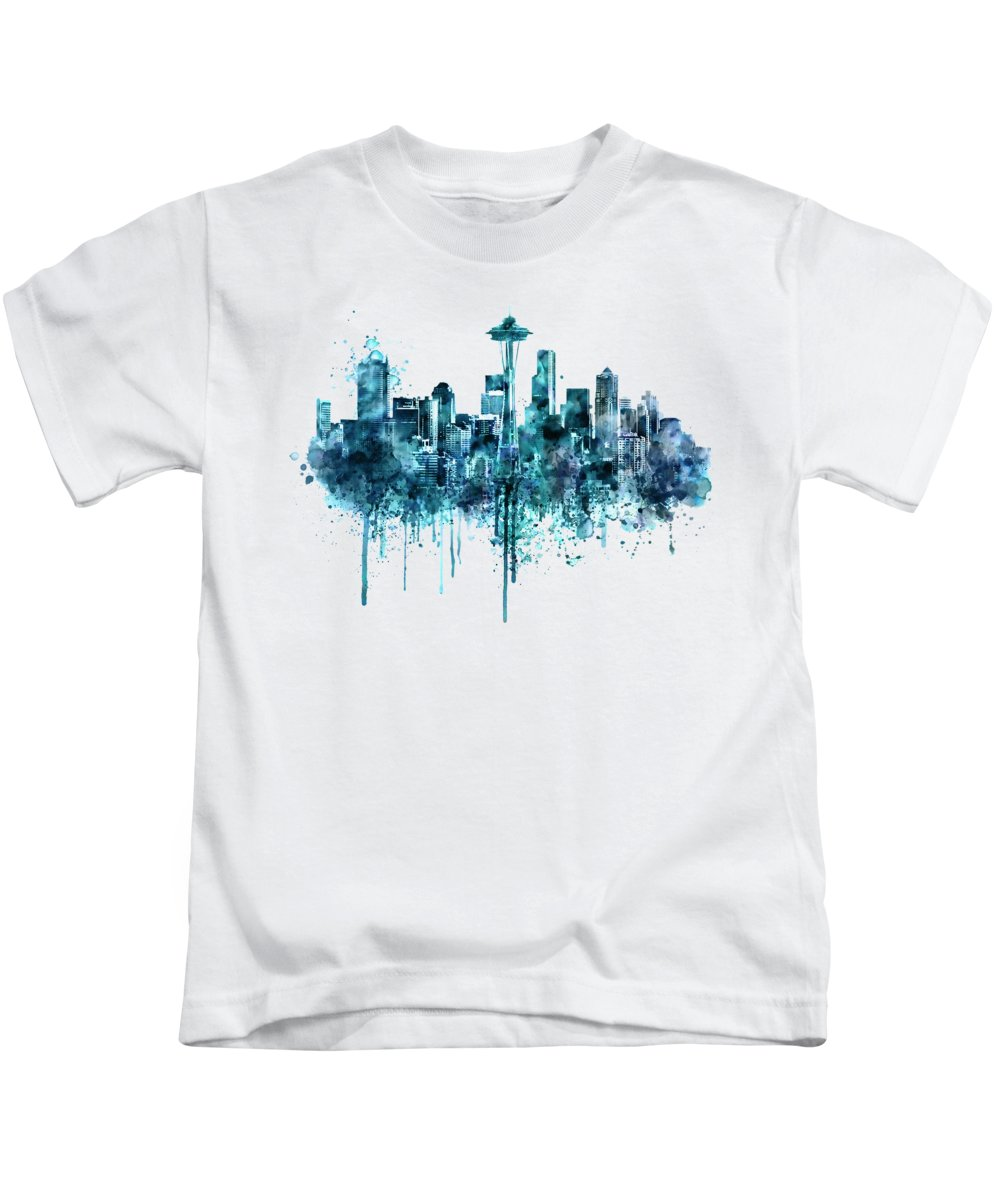 Seattle Kids T-Shirt featuring the painting Seattle Skyline Monochrome Watercolor by Marian Voicu