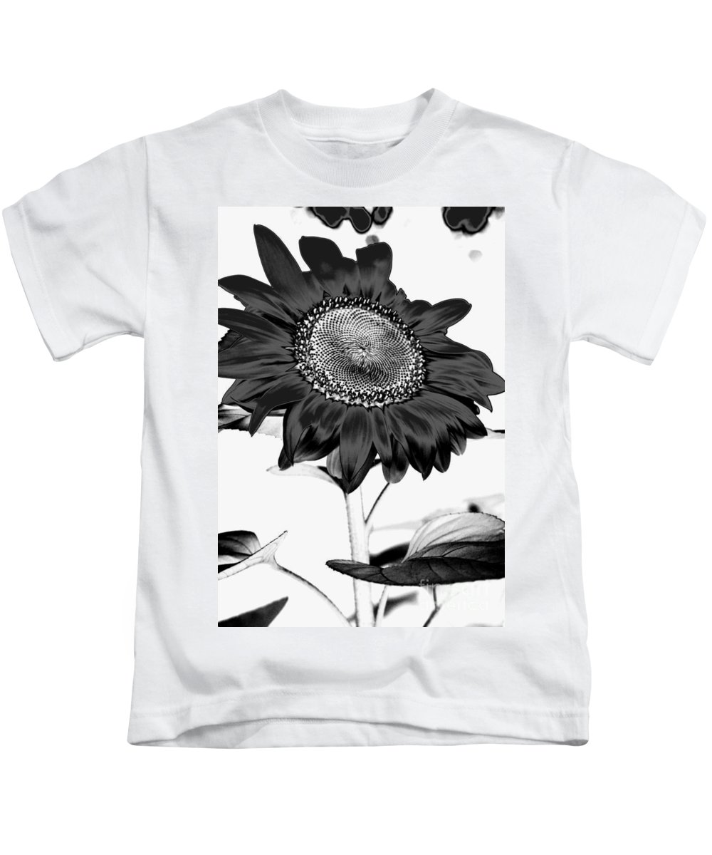 Black And White Photography Kids T-Shirt featuring the photograph Seattle Sunflower Bw Invert - Stronger by Heather Kirk
