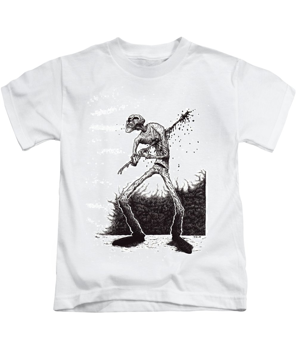 Dark Kids T-Shirt featuring the drawing Self Inflicted by Tobey Anderson