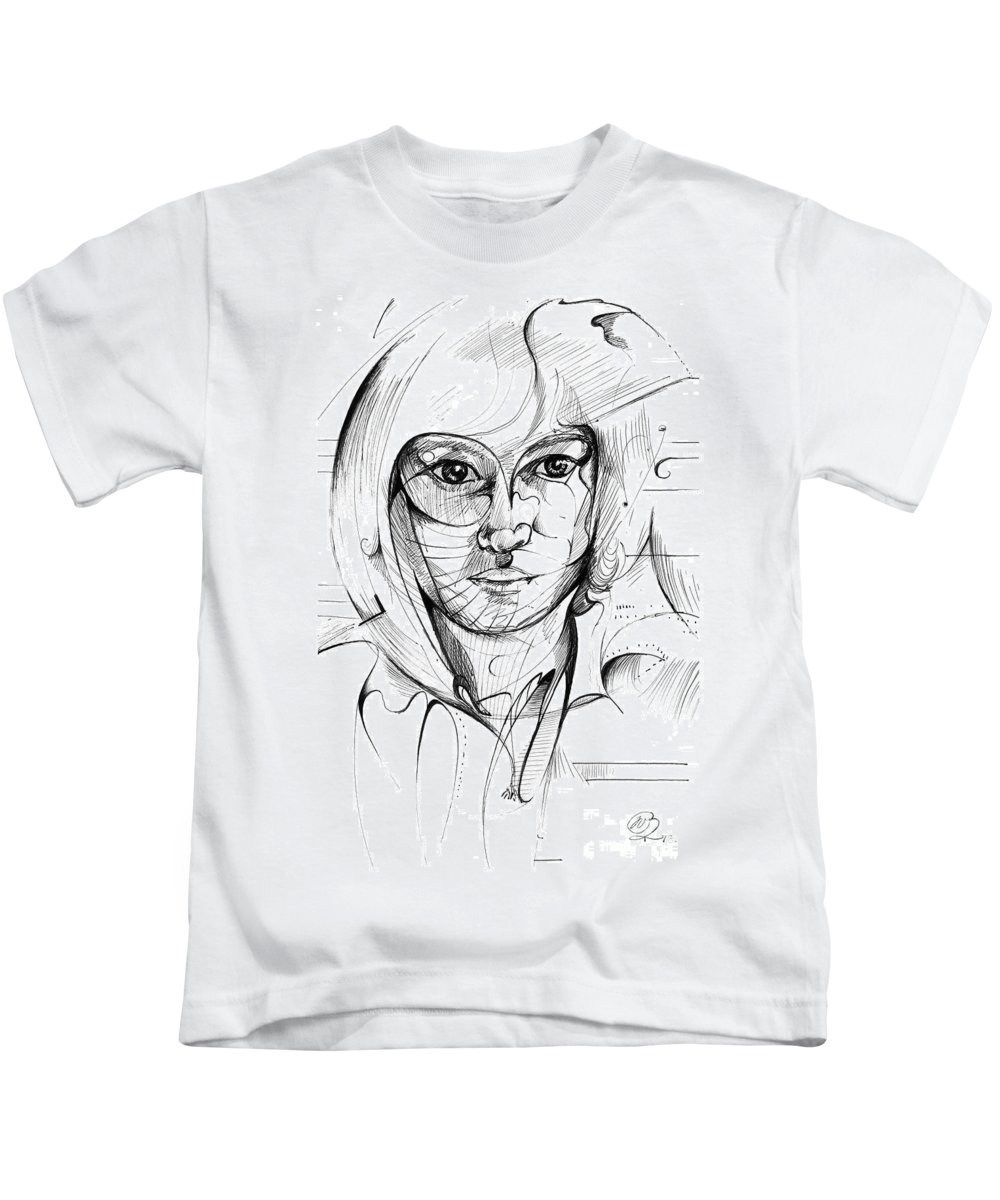 Drawing Kids T-Shirt featuring the digital art Self Portrait by Nicholas Burningham