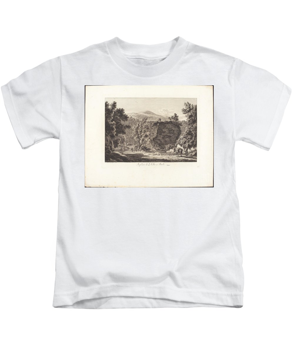Kids T-Shirt featuring the painting Sepolcro Di L. Cellio A Tivoli by Albert Christoph Dies