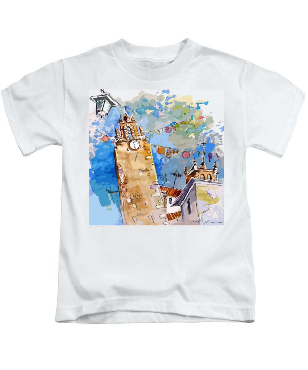 Painting Of Serpa Alentajo Portugal Travel Sketch Kids T-Shirt featuring the painting Serpa Portugal 08 Bis by Miki De Goodaboom