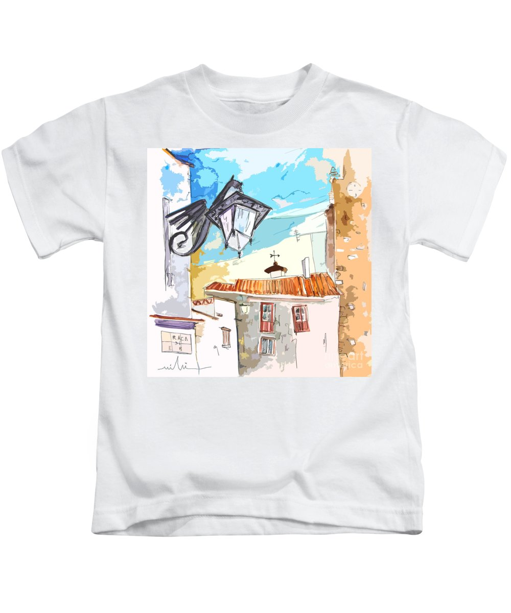 Painting Of Serpa Alentajo Portugal Travel Sketch Kids T-Shirt featuring the painting Serpa Portugal 09 Bis by Miki De Goodaboom