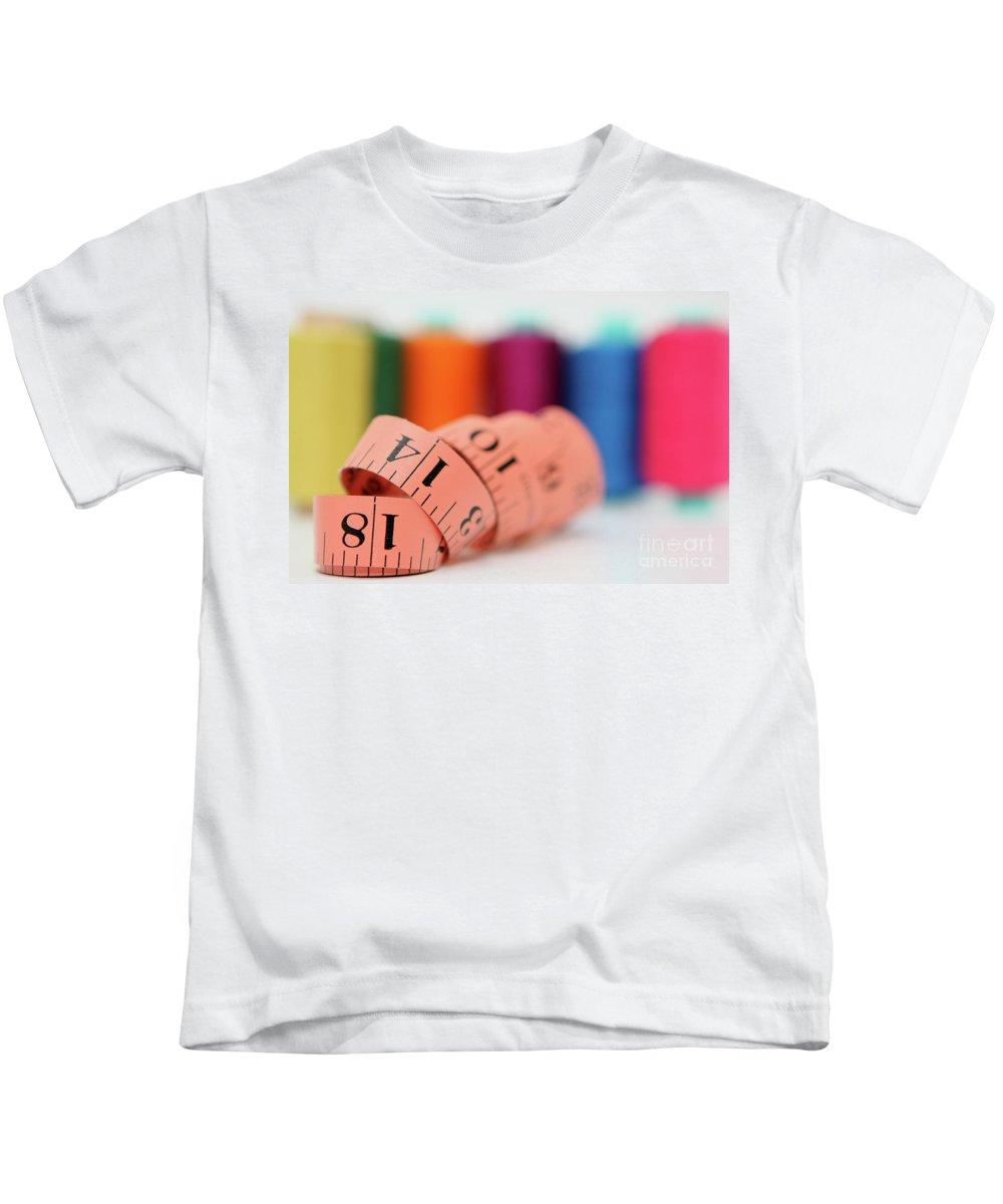 Selective Focus Kids T-Shirt featuring the photograph Sewing Kit by Yedidya yos mizrachi