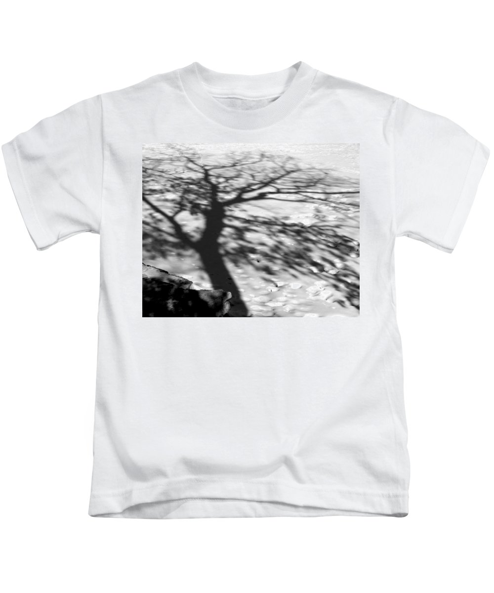 Shadow Kids T-Shirt featuring the photograph Shadow Tree Herrick Lake Naperville Illinois by Michael Bessler