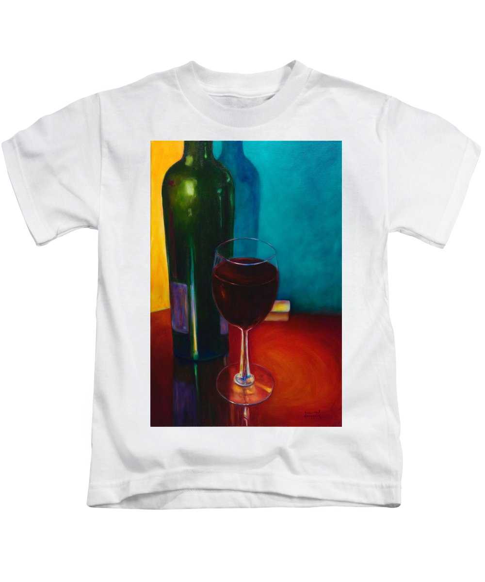 Wine Bottle Kids T-Shirt featuring the painting Shannon's Red by Shannon Grissom