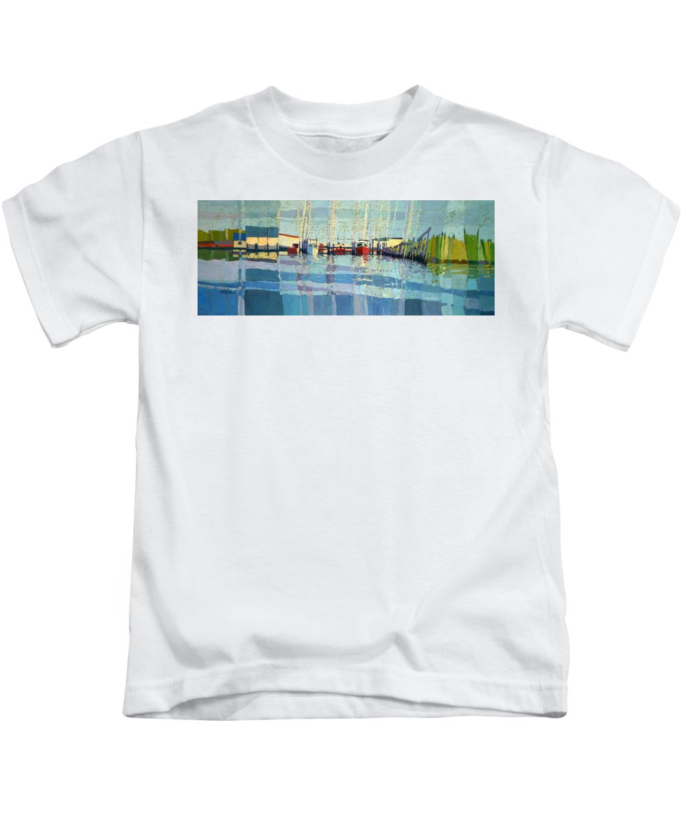 Belmar Inlet Kids T-Shirt featuring the painting Shark River Inlet by Donald Maier