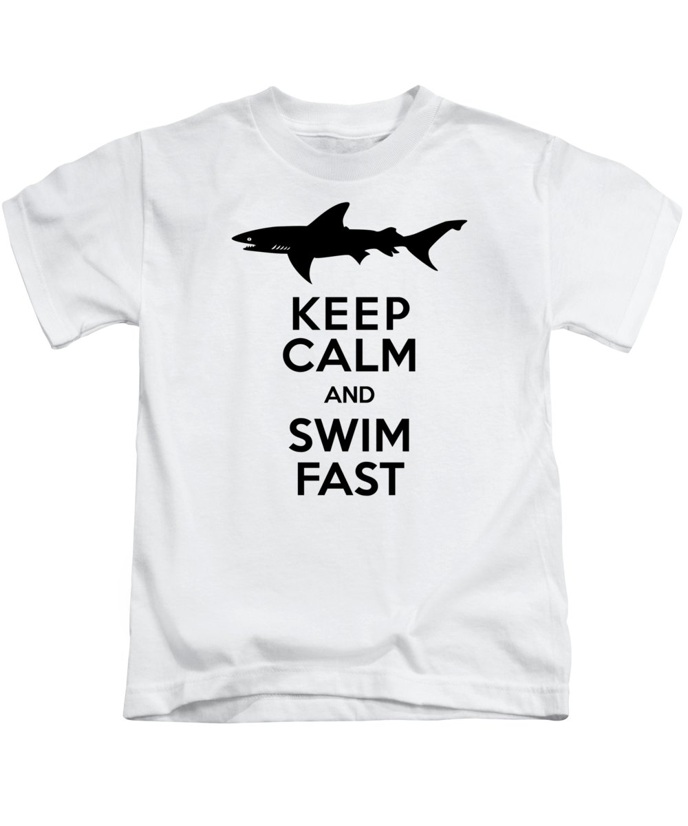 Shark Kids T-Shirt featuring the digital art Sharks Keep Calm And Swim Fast by Antique Images