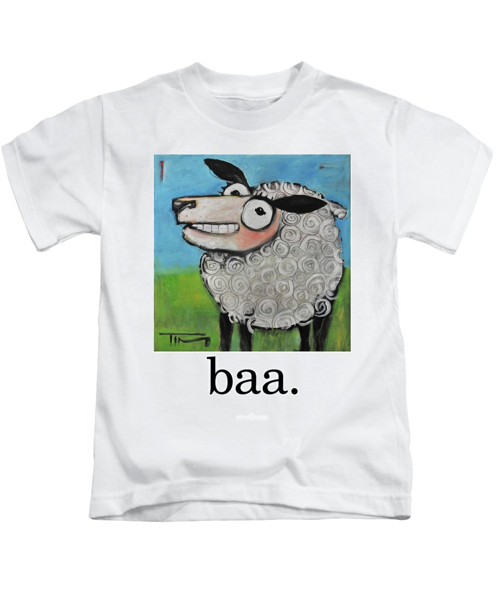 Sheep Kids T-Shirt featuring the painting Sheep Poster by Tim Nyberg