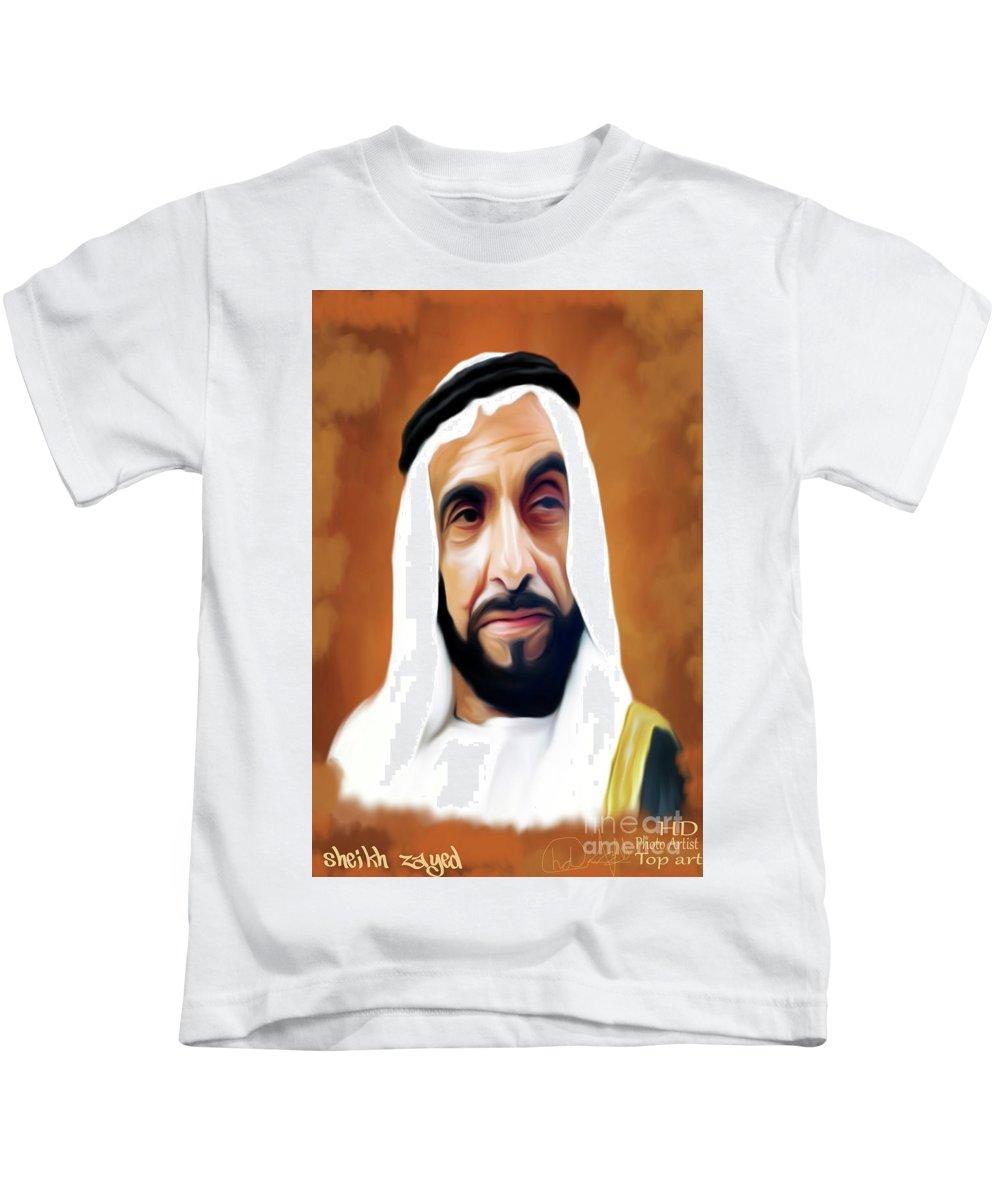 Kids T-Shirt featuring the digital art Sheikh Zayed by Shahid Baloch
