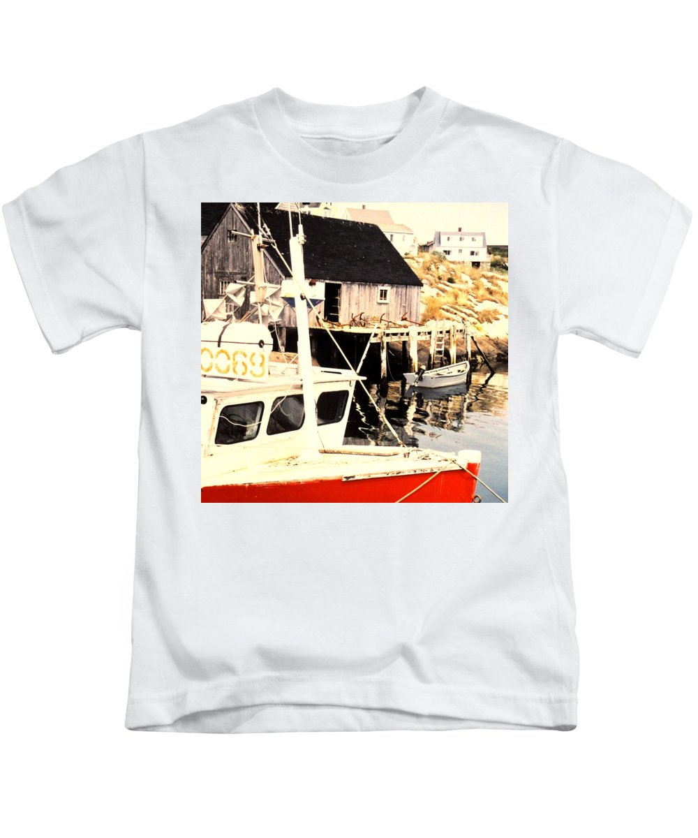 Peggys Cove Kids T-Shirt featuring the photograph Sheltered Port by Ian MacDonald