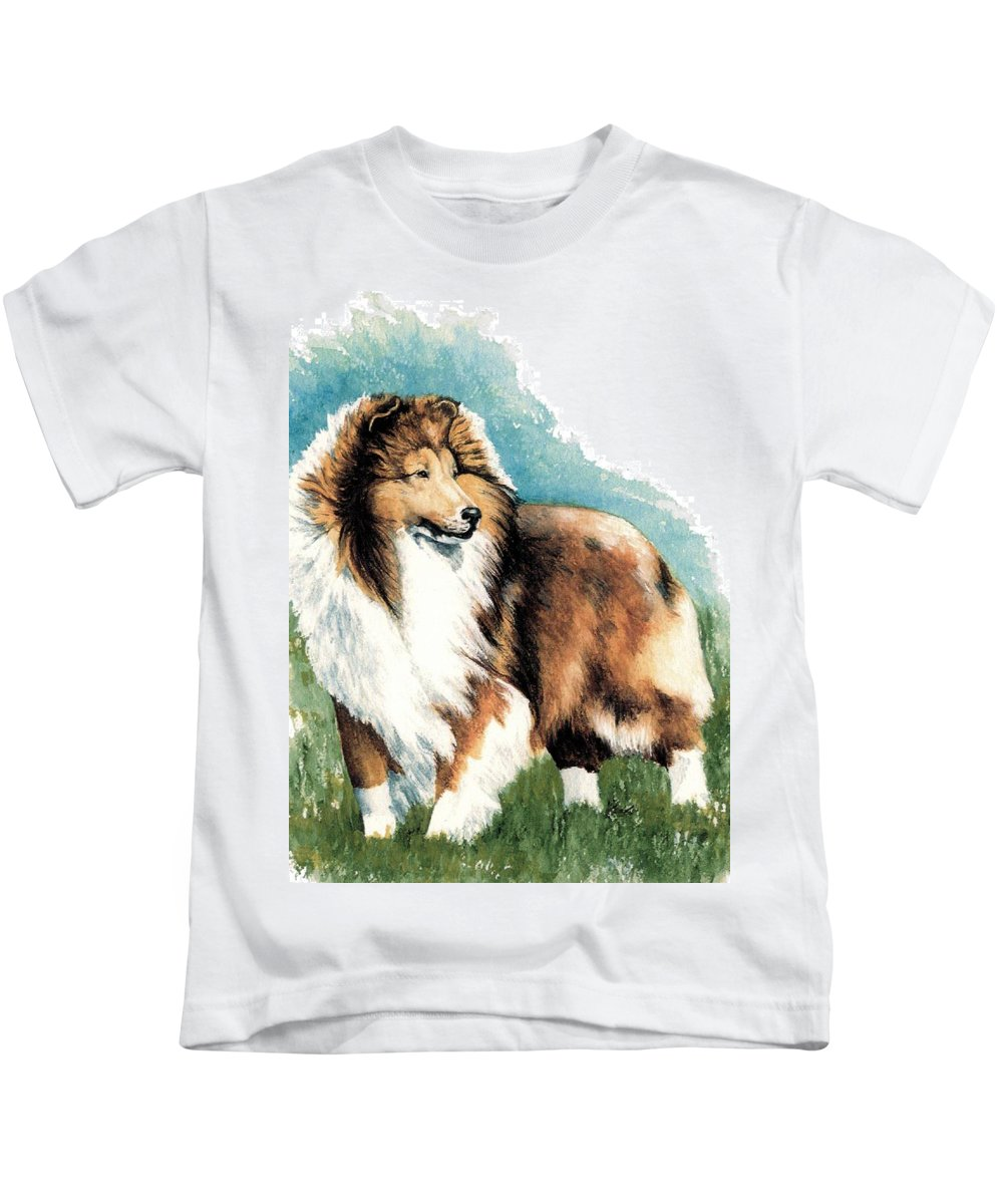 Shetland Sheepdog Kids T-Shirt featuring the painting Sheltie Watch by Kathleen Sepulveda