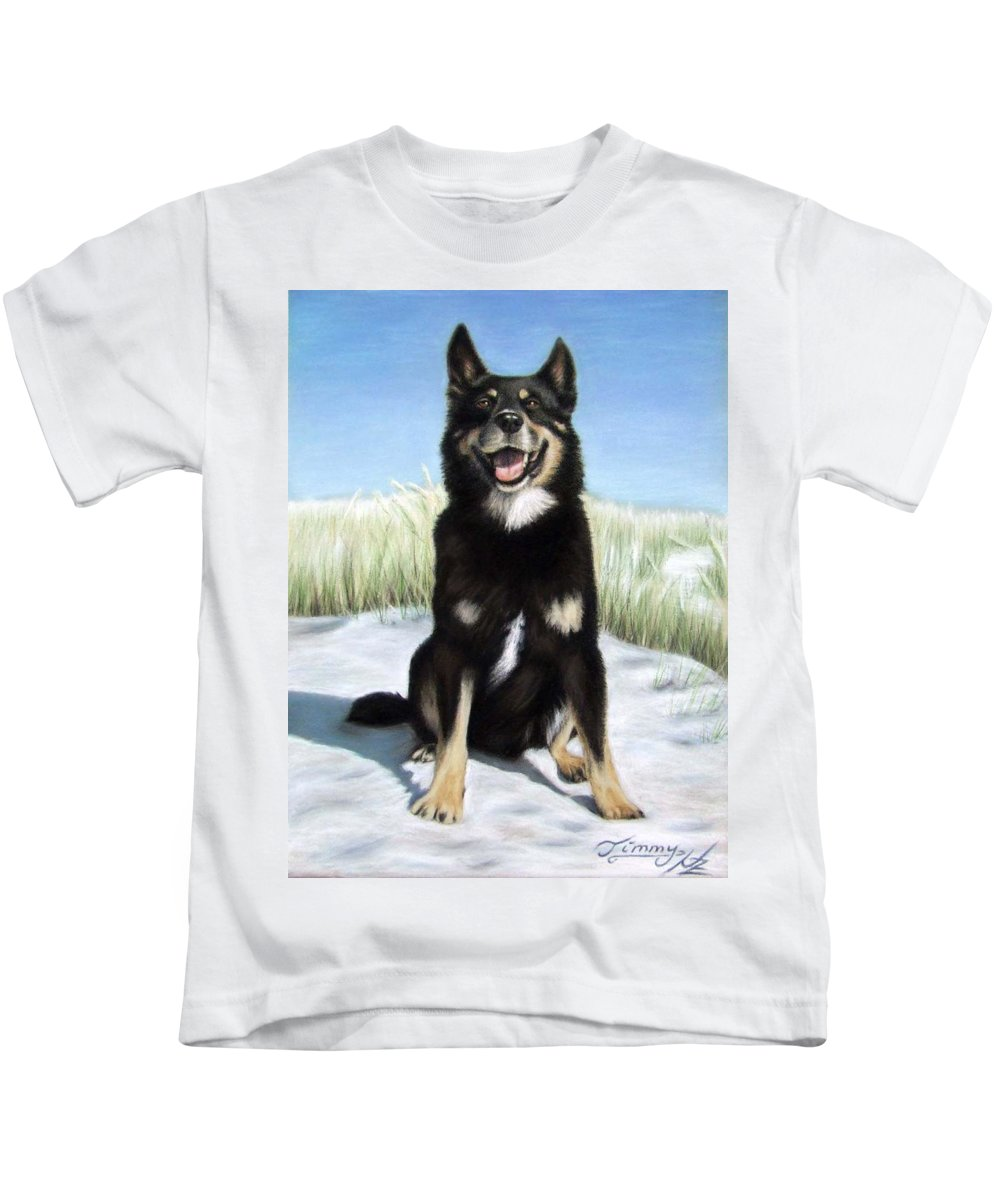 Dog Kids T-Shirt featuring the pastel Shepherd Mix Timmy by Nicole Zeug