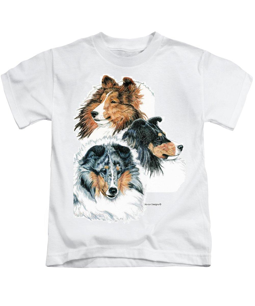 Shetland Sheepdog Kids T-Shirt featuring the drawing Shetland Sheepdogs by Kathleen Sepulveda