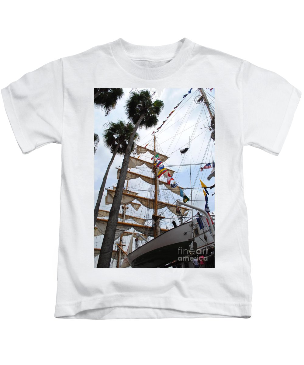 Ship Kids T-Shirt featuring the photograph Ships Palm by Jost Houk