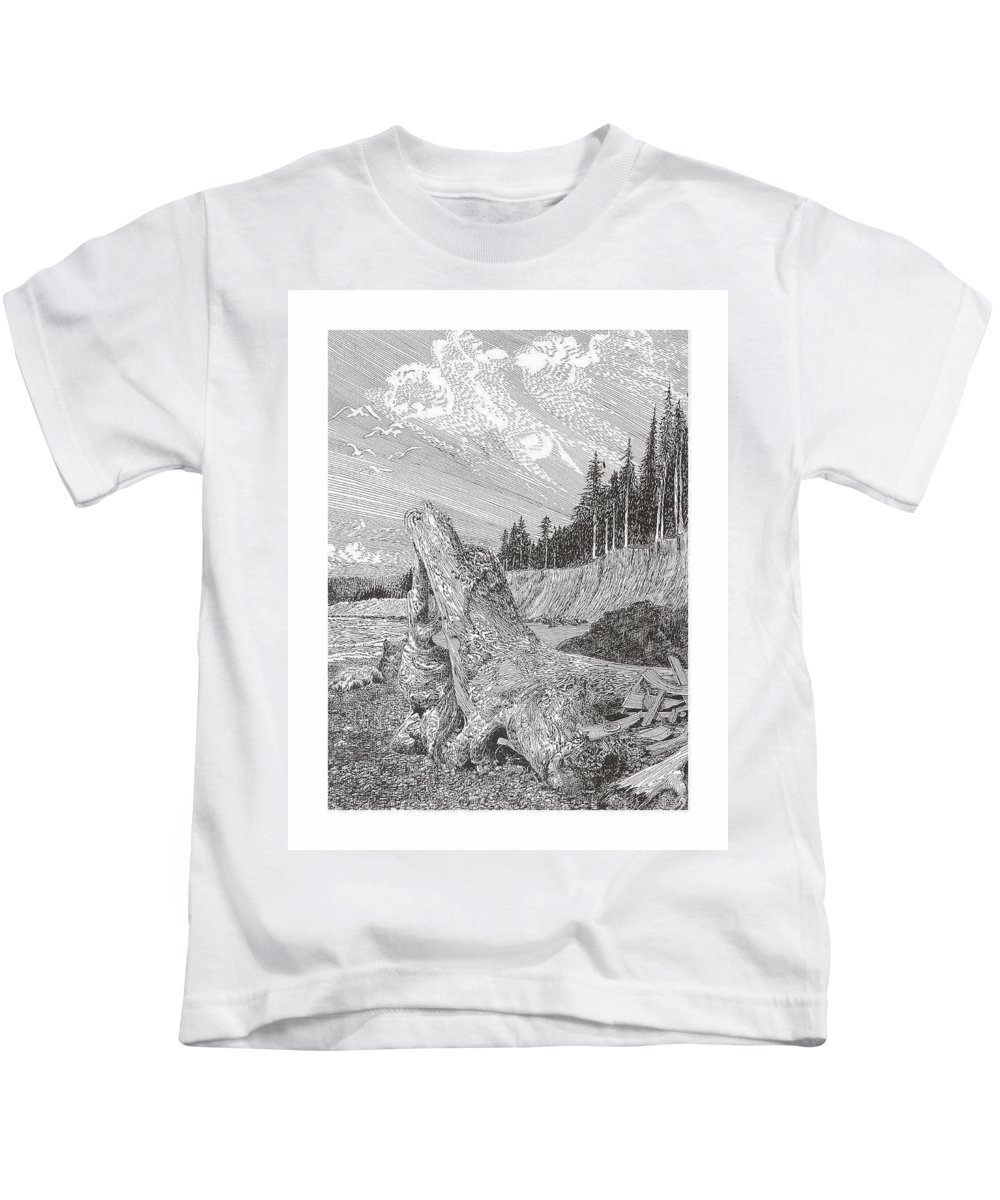 Nautical Marine Driftwood Kids T-Shirt featuring the drawing Shipwrecked by Jack Pumphrey