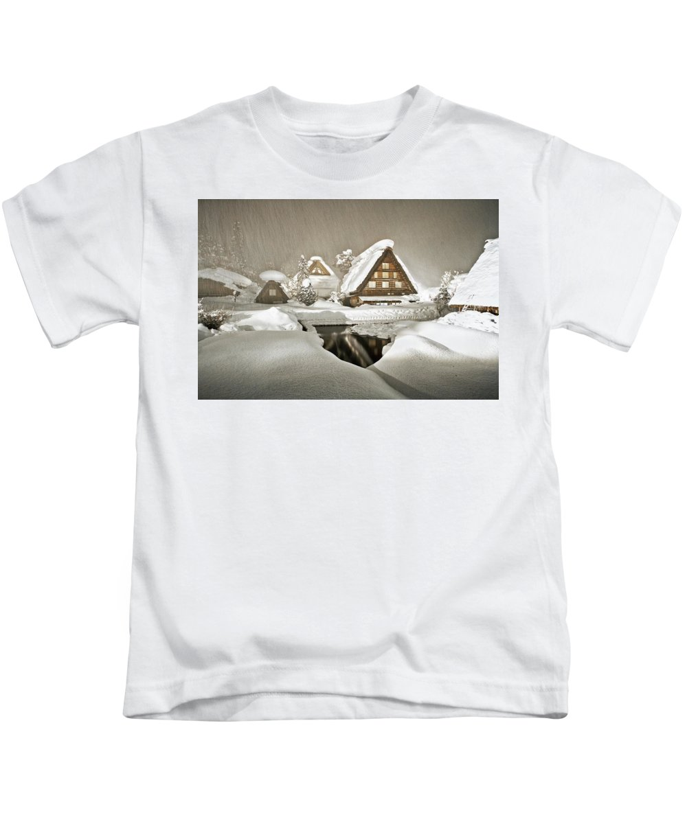 Shirakawa Kids T-Shirt featuring the digital art Shirakawa by Dorothy Binder