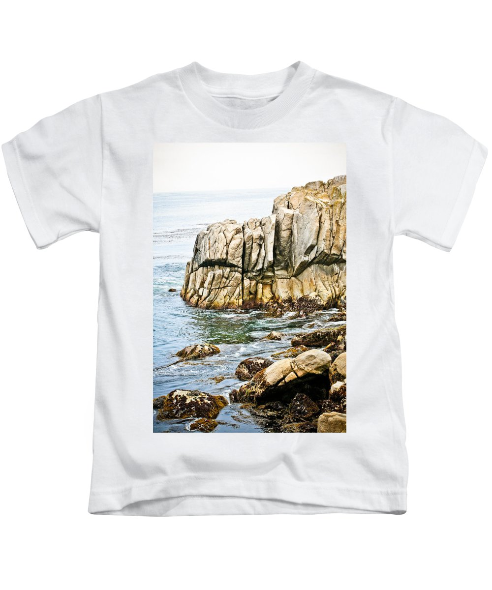 Pebble Beach Kids T-Shirt featuring the photograph Shores Of Pebble Beach by Marilyn Hunt