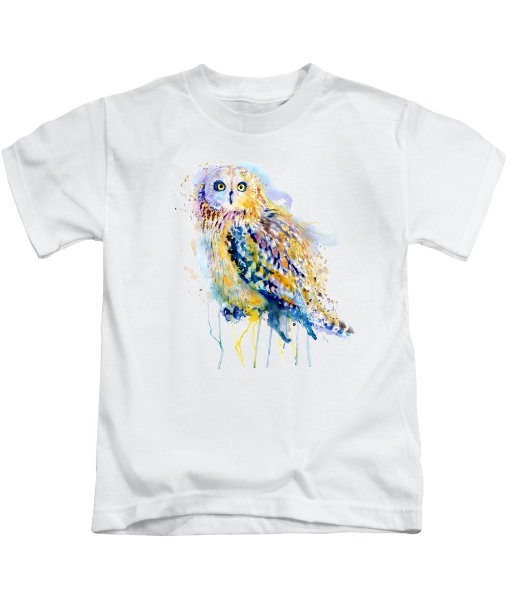 Short Eared Owl Kids T-Shirt featuring the painting Short Eared Owl by Marian Voicu