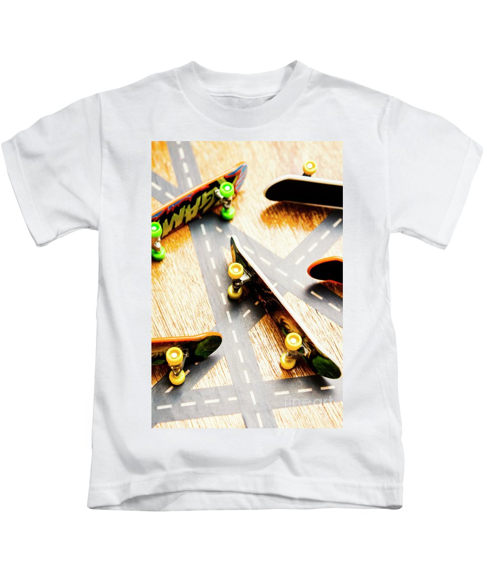 Skateboard Kids T-Shirt featuring the photograph Side Streets Of Skate by Jorgo Photography - Wall Art Gallery