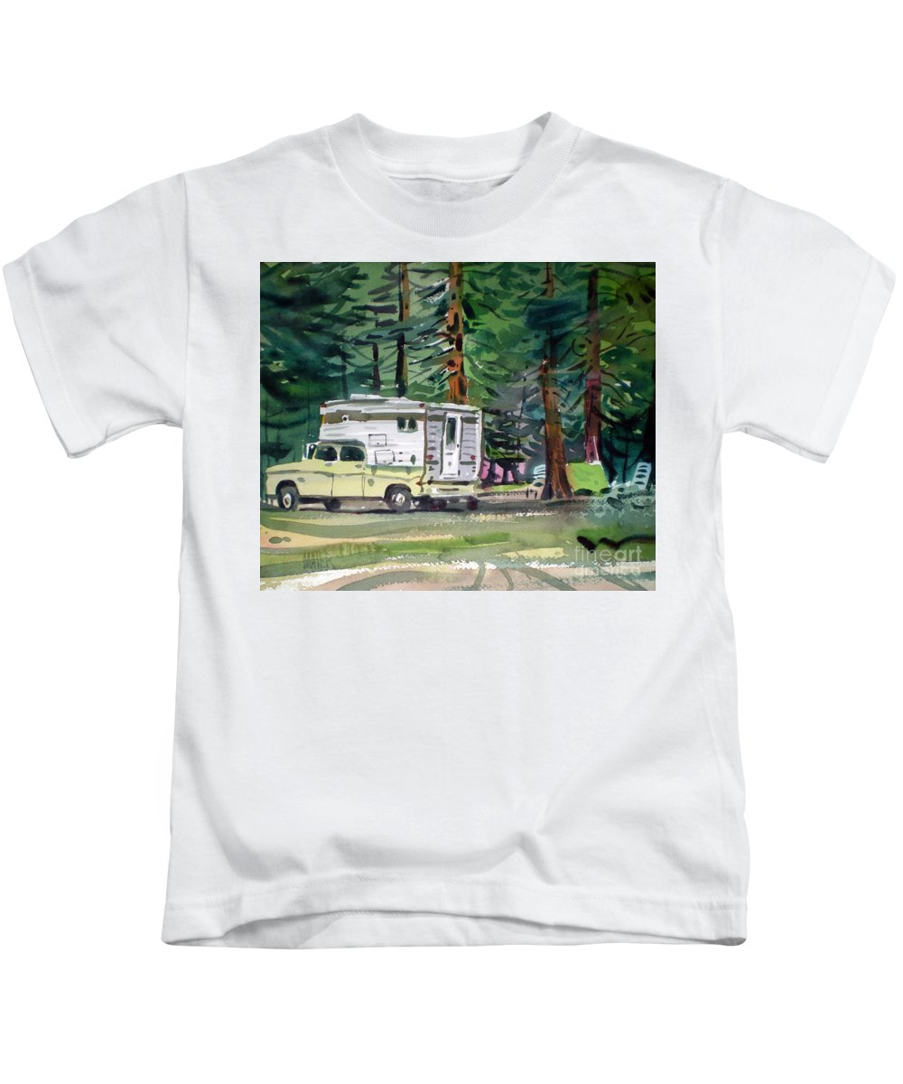 Camping Kids T-Shirt featuring the painting Sierra Campsite by Donald Maier